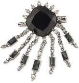 Carolee Hematite-Tone Jet Stone and Crystal Fringe Pin