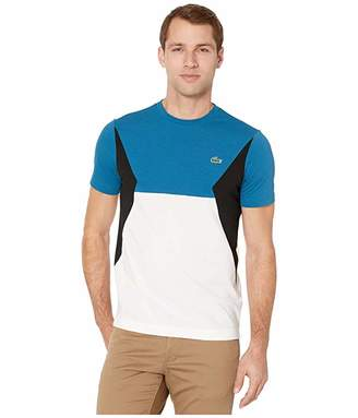 Lacoste Short Sleeve Color Block Cotton Tee (Illumination/White/Black) Men's Clothing