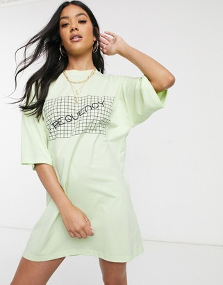 Public Desire oversized t-shirt dress with frequency graphic
