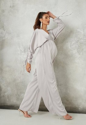 Missguided Ruched Sleeve Wrap Maternity Playsuit