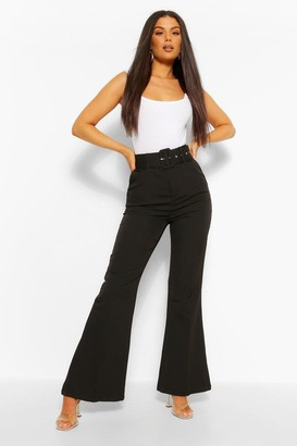 boohoo Self Fabric Belted Kick Flare Tailored Trouser