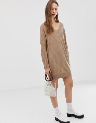 Asos Design DESIGN ripple stitch deep v mini jumper dress in eco yarn-Stone