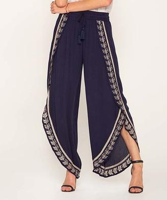 Miss Me Women's Casual Pants NAVY - Navy Embroidered Tulip Leg Gaucho Pants - Women