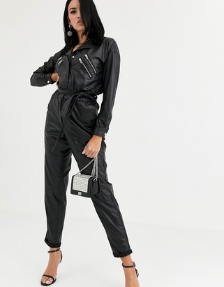 Blank NYC leather look 80s jumpsuit