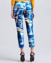 Lela Rose Skinny Abstract-Print Everyday Pants, Cerulean