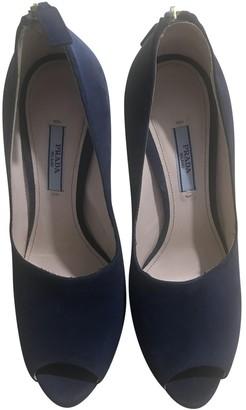 Prada Blue Suede Heels