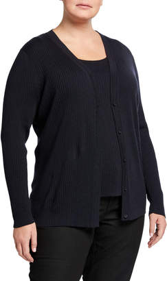 Lafayette 148 New York Plus Size Modern Rib-Knit Button-Front Cardigan