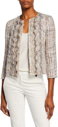 Giorgio Armani Multicolor Organza Ruffled Tweed Jacket