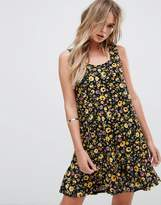 MANGO Floral Print Fluted Hem Dress