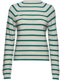 Samsoe & Samsoe Zande Sweater - S / Quetzal Green - Teal/White