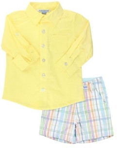 RuggedButts Toddler Boys Button Down Shirt and Plaid Shorts Set