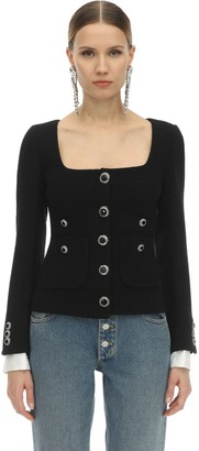Alessandra Rich Lacquered Button Tweed Jacket