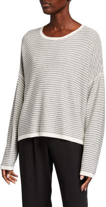 Eileen Fisher Plus Size Striped Dropped Shoulder Long-Sleeve Sweater