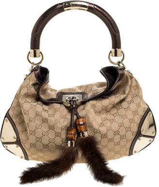 Gucci Beige/Metallic Brown GG Canvas and Leather Small Mink Indy Hobo