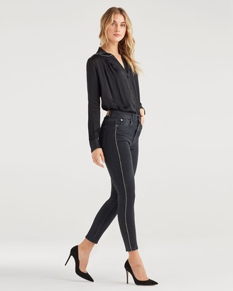 7 For All Mankind Luxe Vintage High Waist Ankle Skinny with Snake Piping in Moon Shadow