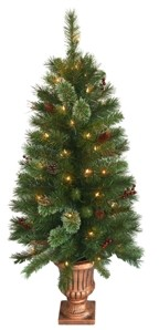 National Tree Company 4' Glistening Pine Entrance Tree with Cones, Berries, & Twigs in Gold Urn with 50 Clear Lights