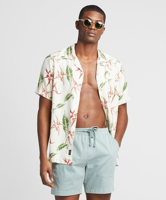 Todd Snyder Aloha Leaf Print Camp Collar Short Sleeve Shirt in Off White