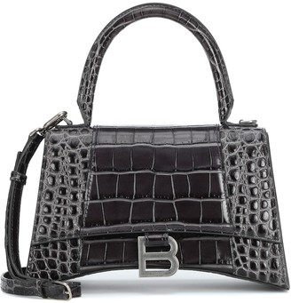Balenciaga Hourglass S croc-effect leather tote