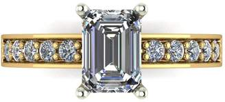 Moissanite Lady Lynsey 9ct Gold 1.35ct total Emerald Cut Centre Solitaire Ring