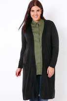 Yours Clothing Black Maxi Knit Cardigan With Pockets