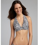 Shoshanna black and white printed halter bikini top