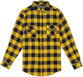Gold Plaid Flannel Long-Sleeve Button-Up