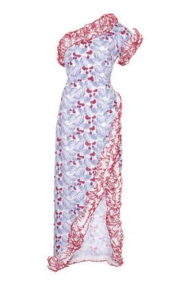 Gül Hürgel One-Shoulder Ruffled Floral-Print Linen Midi Dress