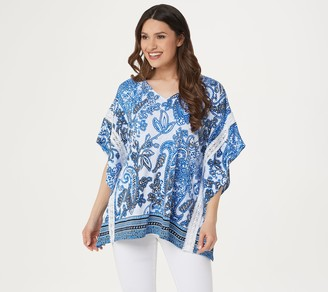 Susan Graver Printed Liquid Knit Scarf Top with Lace Trim