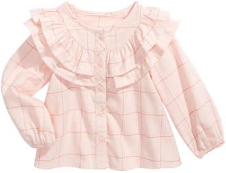 First Impressions Baby Girls Cotton Ruffle-Trim Windowpane Top