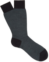 Pantherella - Finsbury Herringbone Merino Wool-blend Socks