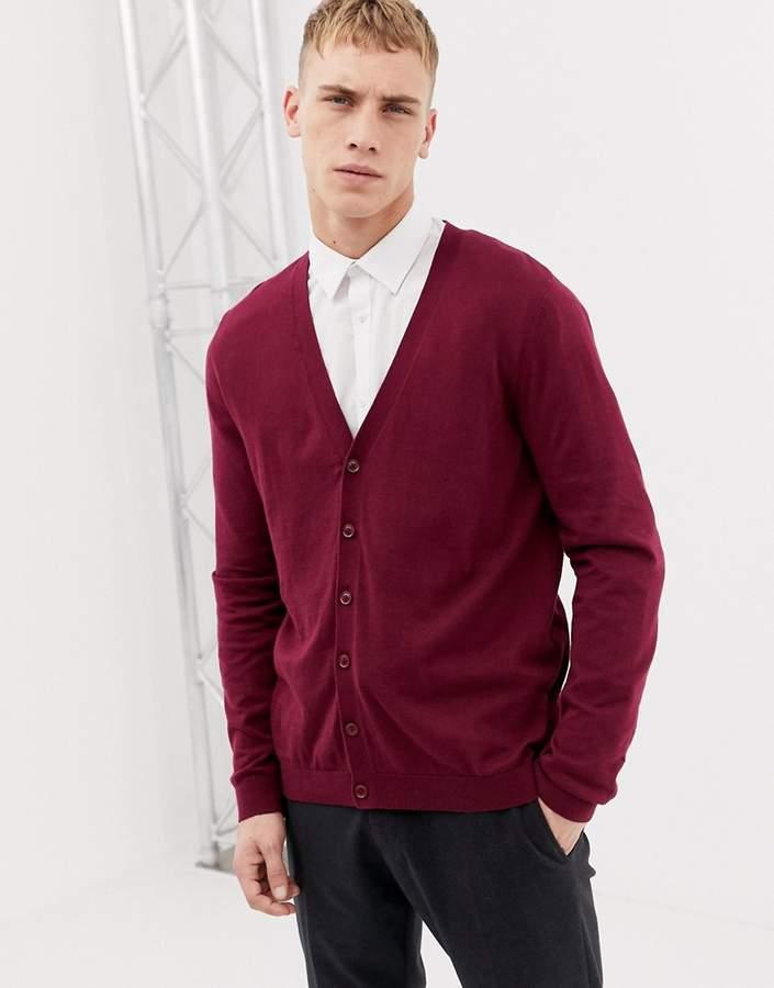 Asos Design DESIGN cotton cardigan in burgundy