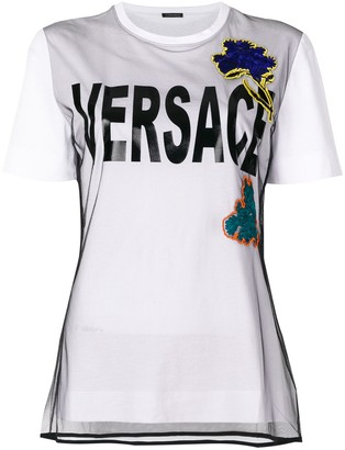 Versace embroidered flower T-shirt
