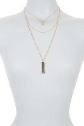 Panacea Gold-Tone Black Stone Pendant Triple Layered Necklace