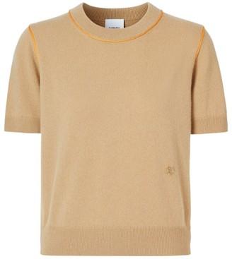 Burberry Silk Trim Monogram Motif Cashmere Top