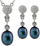 Splendid Pearls Freshwater Pearls Silver 7.5-8.5Mm Freshwater Pearl & Cz Necklace & Drop Earrings Set