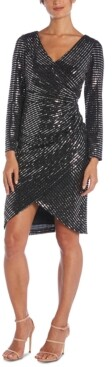 Night Way Nightway Sequined Faux-Wrap Dress