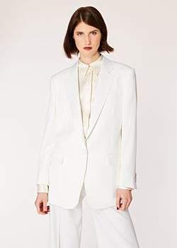 Women's Ivory One-Button Wool Boyfriend-Fit Tuxedo Blazer