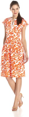 Helene Berman Women's Floral Contrast Neck Cap Sleeve Dress
