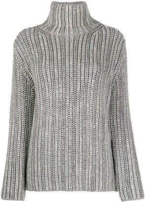 Ermanno Scervino Embellished Ribbed Knit Jumper