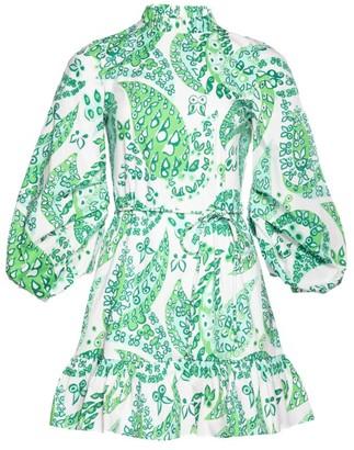 STAUD Ash Sketch Print Off-The-Shoulder Mini Dress