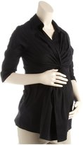 Maternal America Twisted Front Tunic - Black-Black-X-Small