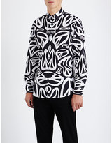 Moschino Peace-print Slim-fit Cotton Shirt