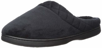 Dearfoams Women's Microfiber Quilted Cuff Velour Clog Black Small US