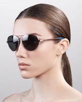 Toms Classic 301 Aviator Sunglasses, Golden/Green Gray