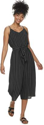 As U Wish Juniors' Sleeveless Belted Jumpsuit