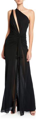 Naeem Khan One-Shoulder Cutout Jersey Gown