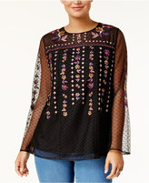 Style&Co. Style & Co Embroidered Swiss-Dot Illusion Top, Created for Macy's