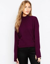 Asos High Neck Sweater with Extreme Stepped Hem and Side Splits