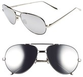 Linda Farrow 59mm 18 Karat White Gold Trim Aviator Sunglasses