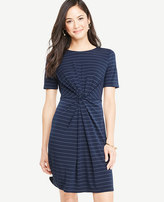 Ann Taylor Pinstripe Knotted Tee Dress